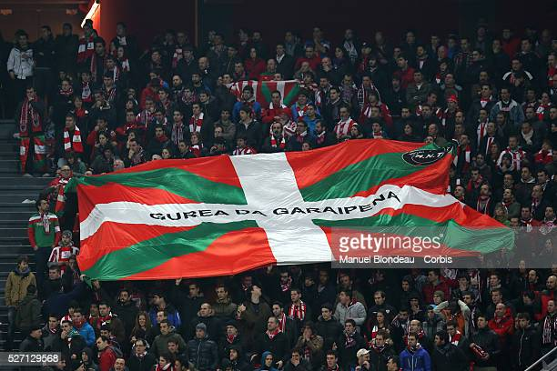 Supporters of Athletic Club Bilbao display a giant Ikurrina flag of the Basque Country during the La Liga football match between Athletic Club Bilbao...