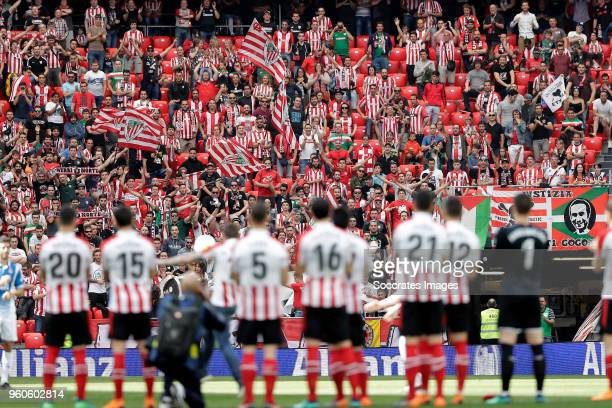 supporters of Athletic de Bilbao during the La Liga Santander match between Athletic de Bilbao v Espanyol at the Estadio San Mames on May 20 2018 in...