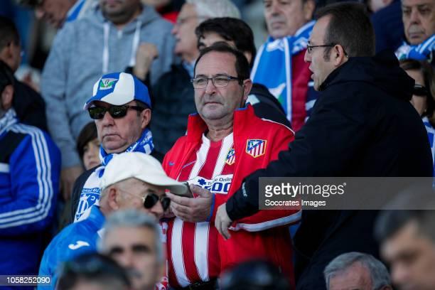 Supporters of Atletico Madrid during the La Liga Santander match between Leganes v Atletico Madrid at the Estadio Municipal de Butarque on November 3...