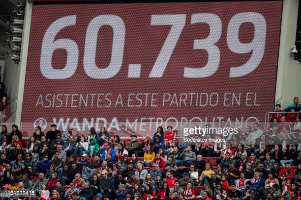 supporters of Atletico Madrid during the match between Atletico Madrid Women v FC Barcelona Women at the Estadio Wanda Metropolitano on March 17 2019...
