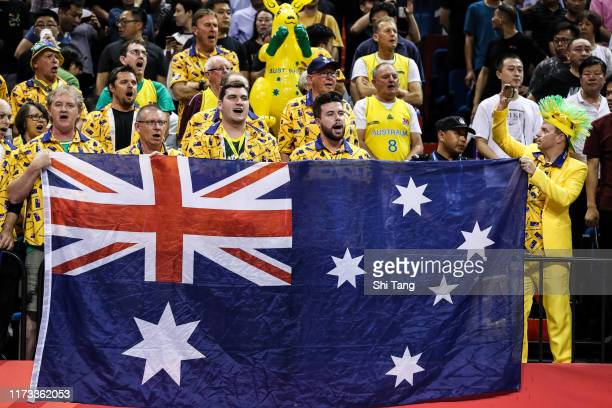 Supporters of Australia cheer during 2nd round Group L match between Australia and France of 2019 FIBA World Cup at Nanjing Youth Olympic Sports Park...