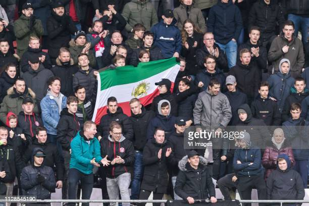 supporters of AZ with the Iranien flag to support Alireza Jahanbakhsh during the Dutch Eredivisie match between AZ Alkmaar and Fortuna Sittard at...