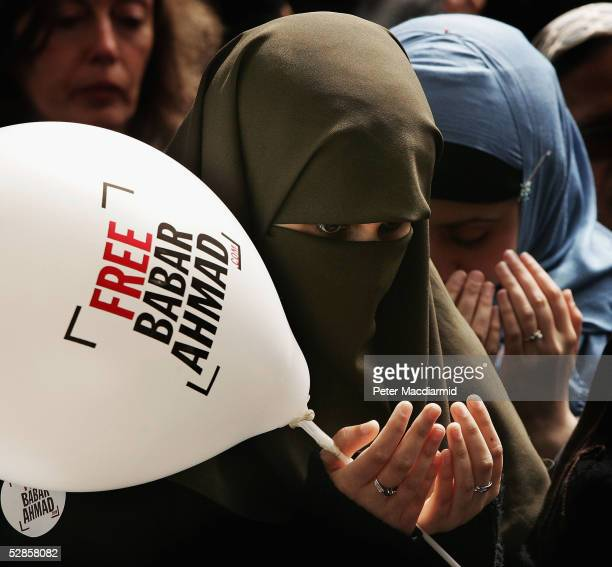 Supporters of Babar Ahmad pray outside Bow Street Magistrates court on May 17 2005 in London A judge today ruled that British terror suspect Babar...