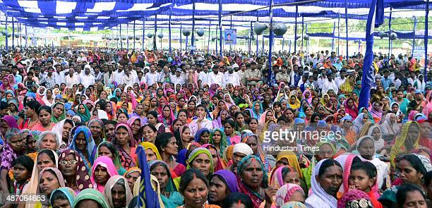 Supporters of Bahujan Samaj Party during a public meeting of BSP supremo Mayawati at KP college ground on April 27 2014 in Allahabad India During a...