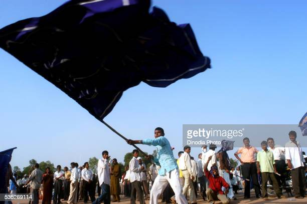 Supporters of Bahujan Samajwadi Party (BSP) during a rally for the 2004 election campaign in Nagpur, Maharashtra, India.
