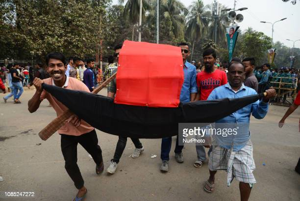Supporters of Bangladesh Awami League attend a grand rally in Dhaka Bangladesh on January 19 to celebrate its landslide victory in 11th parliamentary...
