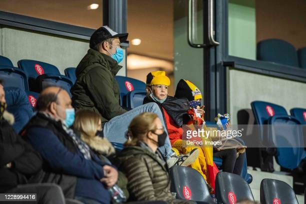Supporters of Belgium are seen during the UEFA Euro Under 21 Qualifier match between Belgium U21 and Wales U21 at King Power at Den Dreef Stadion on...