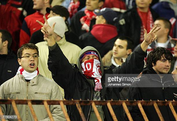 Supporters of Belgrade gesture prior to the UEFA Cup group F match between Crvena Zvezda and Bayern Munich at Crvena Zvezda Stadium on October 25,...