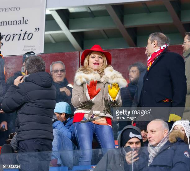 Supporters of Benevento in action during the Italian Serie A match between SSC Napoli and Benevento at Ciro Vigorito Stadium .