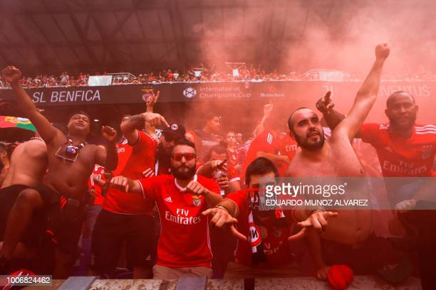 Supporters of Benficaj cheer during their game against Juventus at their 2018 International Champions Cup at the Red Bull Arena on July 28 in...