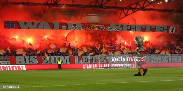 Supporters of Berlin celebrate their team during the Second Bundesliga match between 1 FC Union Berlin and Eintracht Braunschweig at Stadion An der...