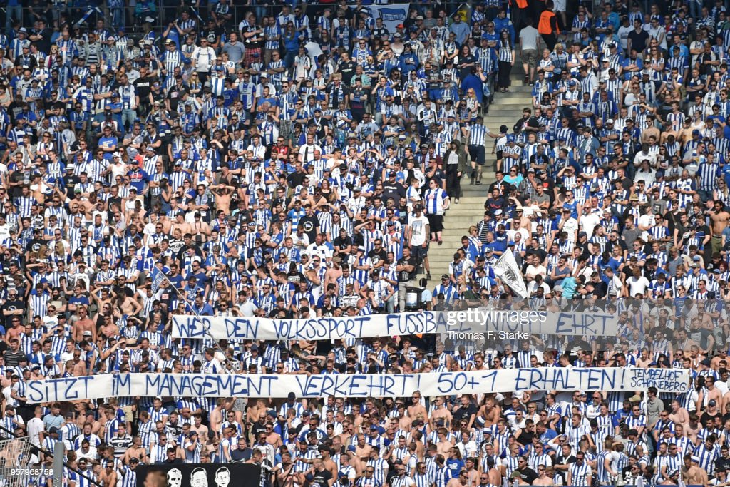 Supporters of Berlin show a protest banner during the Bundesliga match between Hertha BSC and RB Leipzig at Olympiastadion on May 12, 2018 in Berlin, Germany.