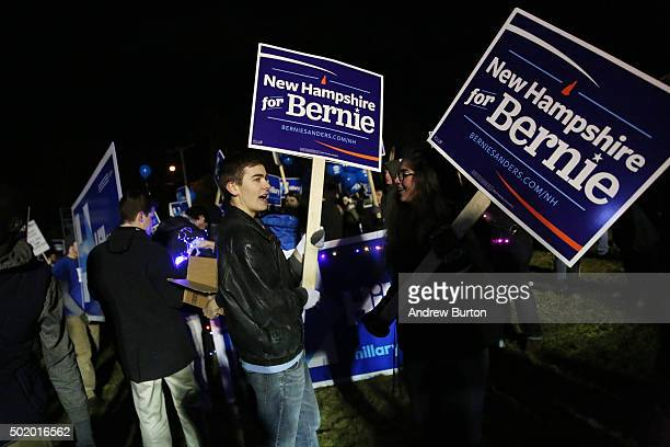 Supporters of Bernie Sander's bid for the Democratic nomination hold a rally on the campus of Saint Anselm College before tonight's Democratic debate...