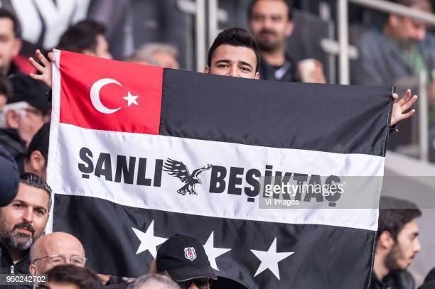 Supporters of Besiktas during the Turkish Spor Toto Super Lig football match between Besiktas JK and Evkur Yeni Malatyaspor on April 22, 2018 at the...