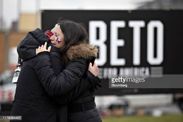 Supporters of Beto O'Rourke former Representative from Texas embrace after news of O'Rourke withdrawing from the presidential race was released on...