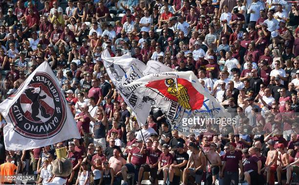 Supporters of BFC Dynamo are seen during the DFB Cup first round match between BFC Dynamo and 1 FC Koeln at Olympiastadion on August 19 2018 in...