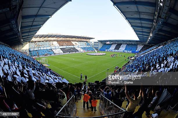 Supporters of Bielefeld show a choreograpy during the Second Bundesliga Playoff Second Leg match between Arminia Bielefeld and Darmstadt 98 at...