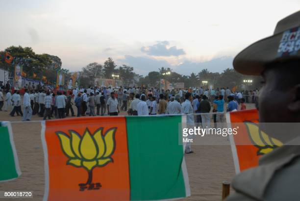Supporters of BJP at Modis public Election Campaign meeting in Bangalore