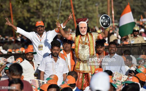 Supporters of BJP during a political rally of Prime Minister Narendra Modi at Palace Grounds on February 4 2018 in Bengaluru India PM Modi appealed...