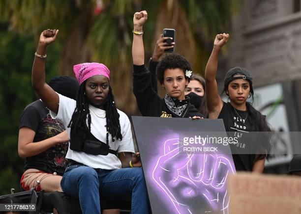 TOPSHOT Supporters of Black Lives Matter protest as they commemorate Breonna Taylor on what would have been her 27th birthday in Hollywood California...