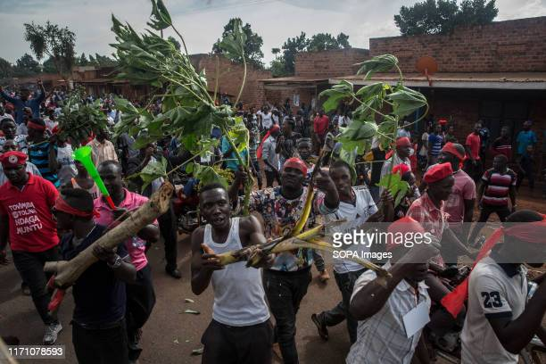 "Supporters of Bobi Wine and the ""people power"" opposition movement seen during the campaigns in Hoima. Wine aka Robert Kyagulanyi, campaigned in..."