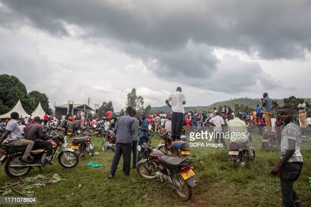 "Supporters of Bobi Wine and the ""people power"" opposition movement seen during a rally in Hoima. Wine aka Robert Kyagulanyi, campaigned in Hoima..."