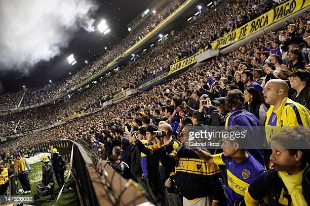 Supporters of Boca Juniors before the first leg of the final of the Copa Libertadores 2012 between Boca Jrs and Corinthians at Alberto J Armando...
