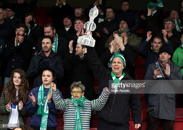 Supporters of Bognor Regis Town during the FA Trophy Semi Final Second Leg between Grimsby Town and Bognor Regis at Blundell Park on March 19, 2016...