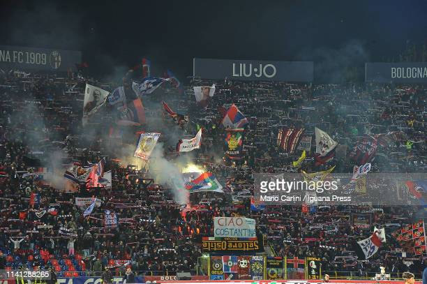 Supporters of Bologna FC attend the Serie A match between Bologna FC and Chievo at Stadio Renato Dall'Ara on April 08 2019 in Bologna Italy