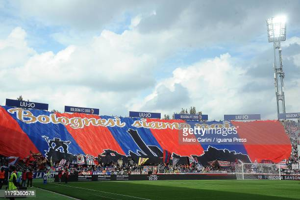 Supporters of Bologna FC attend the Serie A match between Bologna FC and SS Lazio at Stadio Renato Dall'Ara on October 06, 2019 in Bologna, Italy.