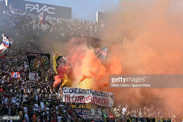Supporters of Bologna FC attend the Serie A match between Bologna FC and US Sassuolo Calcio at Stadio Renato Dall'Ara on August 29 2015 in Bologna...