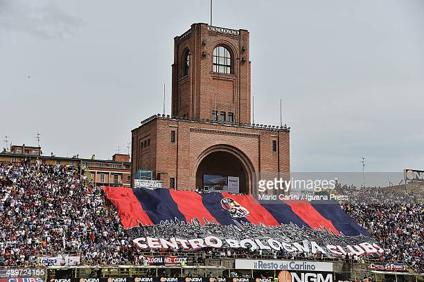 Supporters of Bologna FC attend the Serie A match between Bologna FC and Calcio Catania at Stadio Renato Dall'Ara on May 11, 2014 in Bologna, Italy.