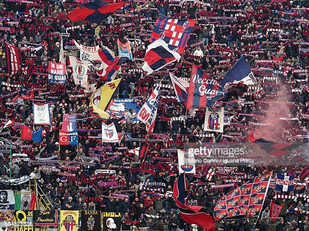 Supporters of Bologna FC attend the Serie A match between Bologna FC and AC Chievo Verona at Stadio Renato Dall'Ara on January 10 2016 in Bologna...