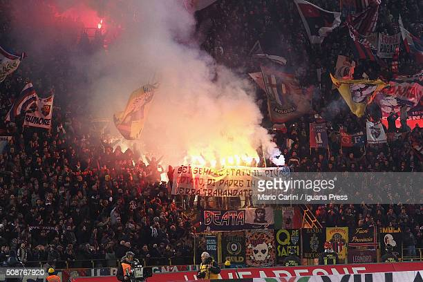 Supporters of Bologna FC attend the Serie A match between Bologna FC and ACF Fiorentina at Stadio Renato Dall'Ara on February 6 2016 in Bologna Italy