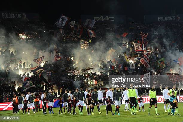 supporters of Bologna FC attend the Serie A match between Bologna FC and AC Milan at Stadio Renato Dall'Ara on February 8 2017 in Bologna Italy