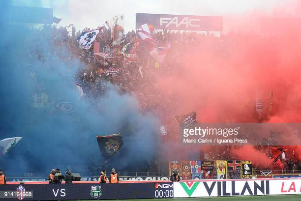 Supporters of Bologna FC attend the serie A match between Bologna FC and ACF Fiorentina at Stadio Renato Dall'Ara on February 4, 2018 in Bologna, Ita