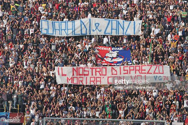 supporters of Bologna FC hold a banner during the Serie A match between Bologna FC and AS Livorno Calcio at Stadio Renato Dall'Ara on October 27 2013...