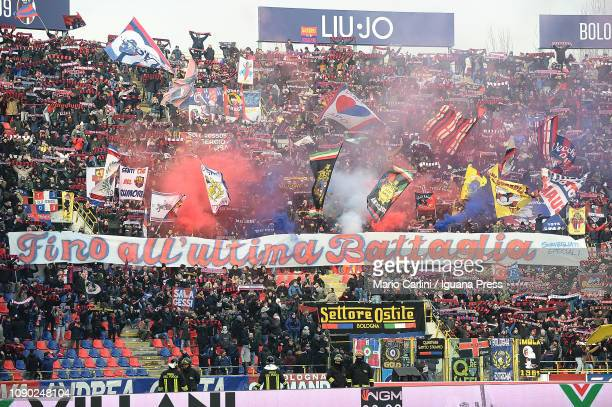 Supporters of Bologna FC hold a banner showing the sign ' till the last battle ' during the Serie A match between Bologna FC and Frosinone Calcio at...