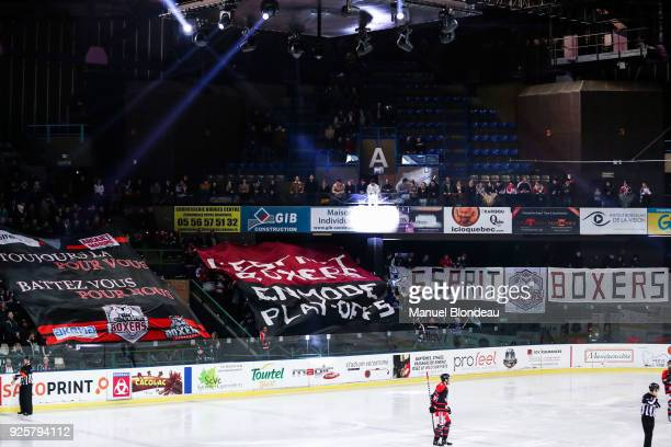 Supporters of Bordeaux display a giant banner during the Magnus League Playoff match between Bordeaux and Gap on February 28 2018 in Bordeaux France