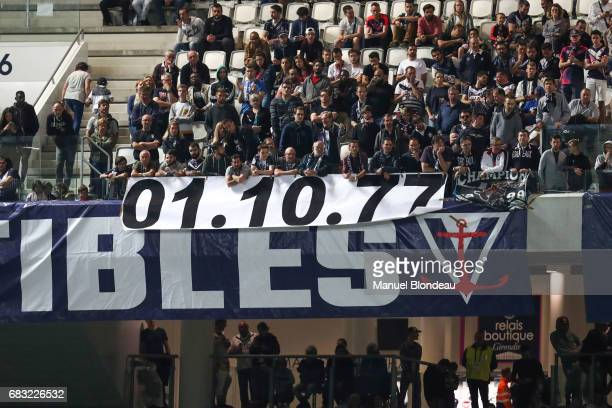 Supporters of Bordeaux display a giant banner that read 01 October 1977 which is the date of the last victory of Marseille against Bordeaux during...
