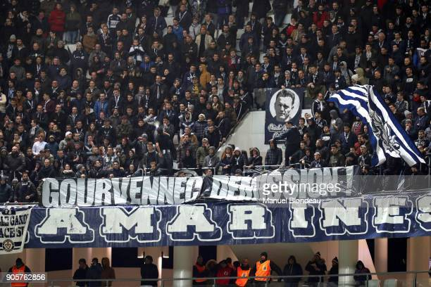Supporters of Bordeaux display a giant banner to request resignation of Head coach Jocelyn Gourvennec of Bordeaux during the Ligue 1 match between FC...