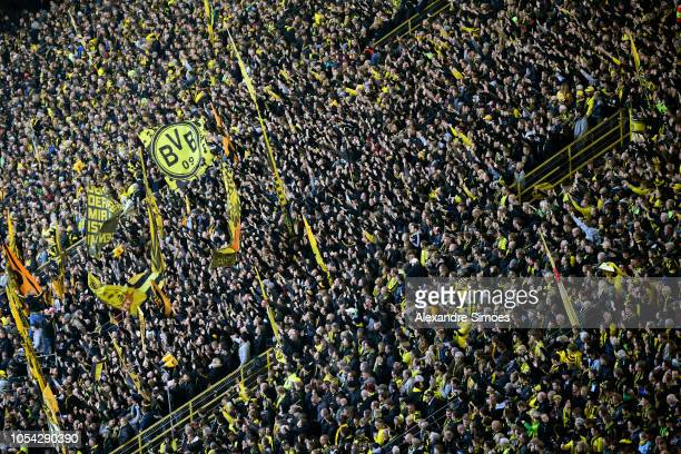 Supporters of Borussia Dortmund are seen before the Bundesliga match between Borussia Dortmund and Hertha BSC at the Signal Iduna Park on October 27...