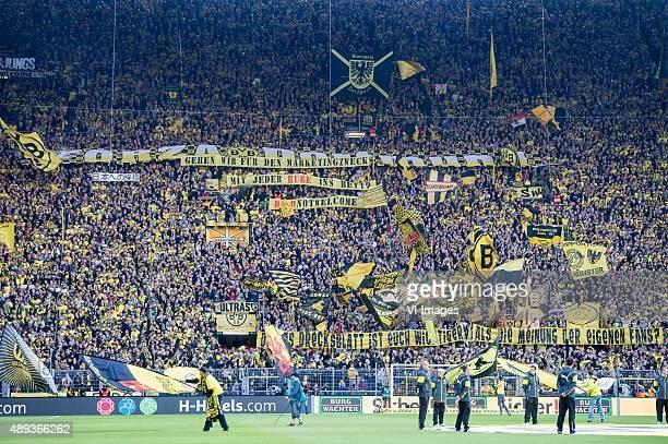 supporters of Borussia Dortmund during the Bundesliga match between Borussia Dortmund and Bayer 04 Leverkusen on September 20 2015 at the Signal...
