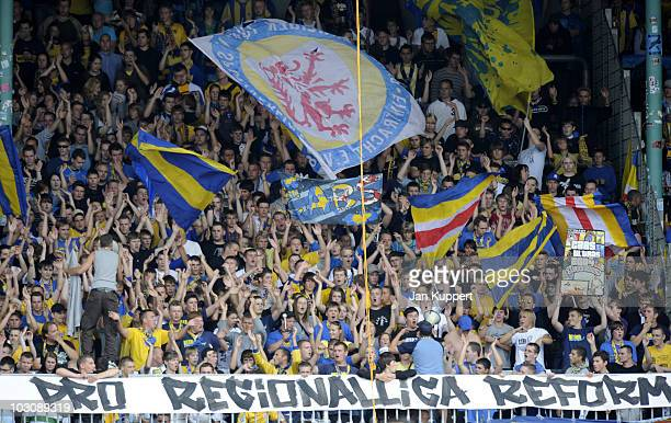 Supporters of Braunschweig celebrate during the third Liga match between Eintracht Braunschweig and Dynamo Dresden on July 24 2010 in Braunschweig...