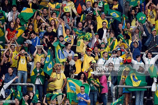 Supporters of Brazil celebrate after the Women's International Friendly match between Germany and Brazil at the Commerzbank Arena on April 22 2009 in...