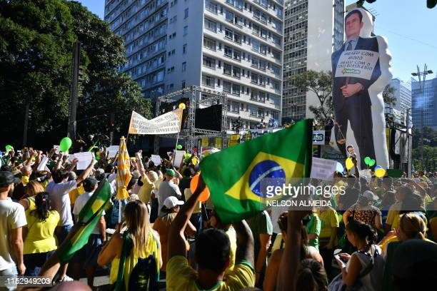 Supporters of Brazilian President Jair Bolsonaro demonstrate along Paulista Avenue in Sao Paulo, Brazil on June 30 2019, in support of Justice...