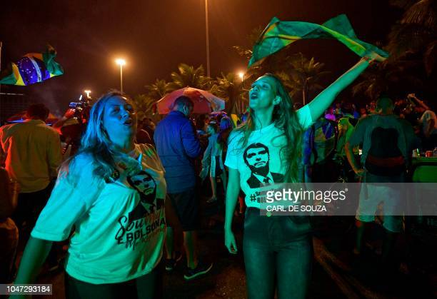 Supporters of Brazilian presidential candidate for the Social Liberal Party Jair Bolsonaro celebrate outside his home in Rio de Janeiro Brazil on...