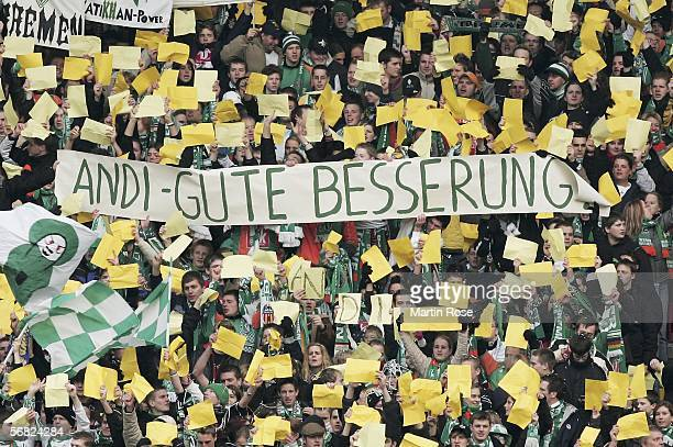 Supporters of Bremen show a banner during the Bundesliga match between Werder Bremen and 1 FC Kaiserslautern at the Weserstadium on February 11 2006...