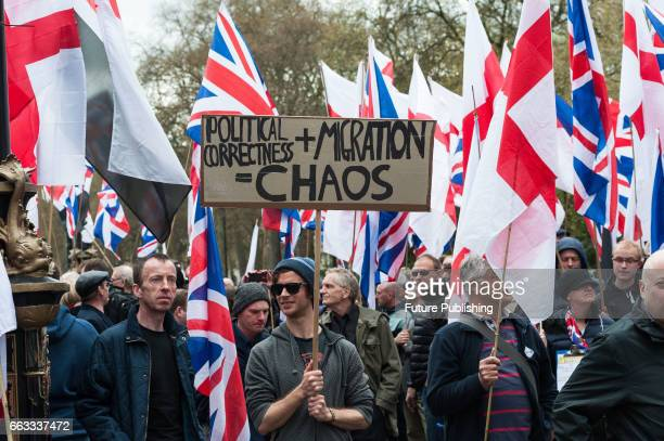 Supporters of Britain First take part in the March Against Terrorism on April 01 2017 in London England Supporters of farright political movement...