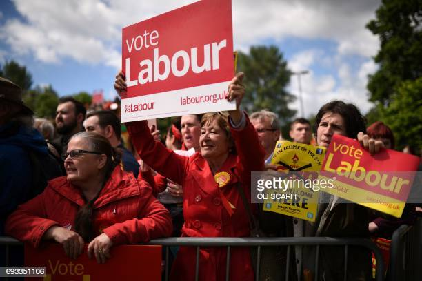 Supporters of Britain's main opposition Labour Party hold placards as they wait for the leader Jeremy Corbyn to arrive at a campaign visit in Colwyn...